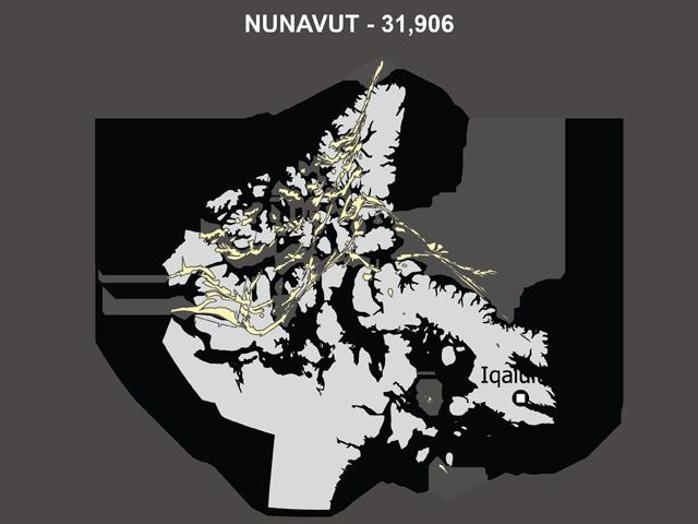 Population of Nunavut, Skewed