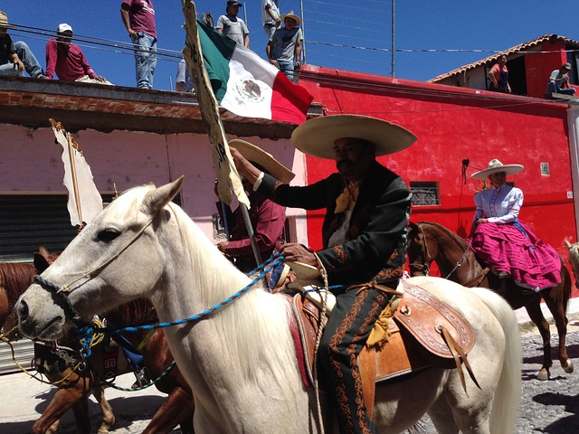 Mexicans on horseback via https://pixabay.com/en/mexico-horseman-mexican-flag-design-322970/