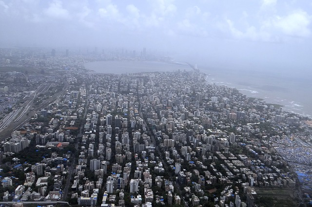 Mumbai via https://pixabay.com/en/mumbai-aerial-view-sea-coast-385295/