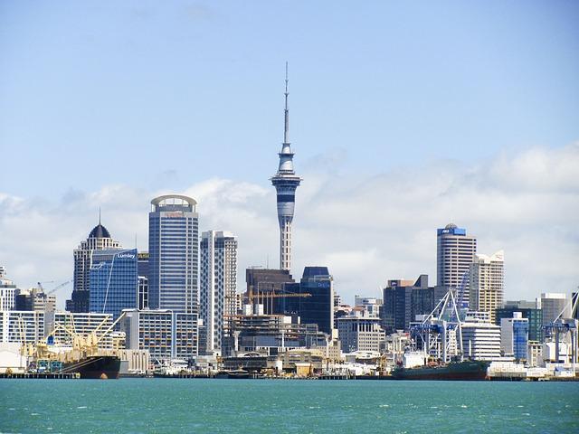 Auckland via https://pixabay.com/en/new-zealand-skyline-auckland-73230/