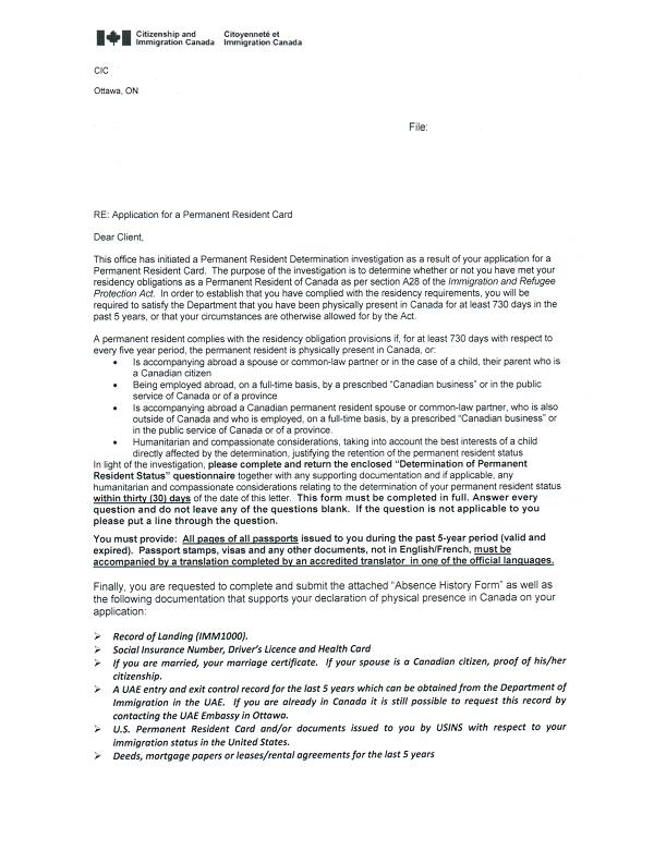 pr-residence-questionnaire-investigation-letter-1 Online Canadian Visa Application Form Imm on