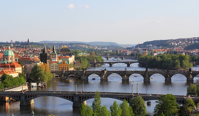 Prague via https://pixabay.com/en/sun-old-sky-view-dome-city-praha-597018/