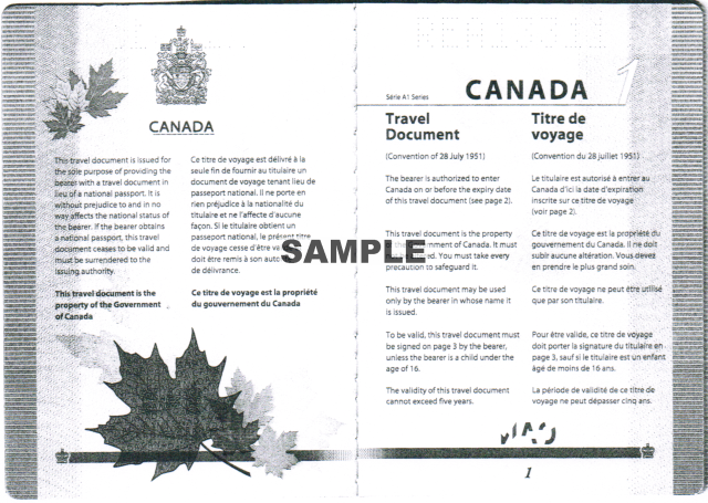Canadian Refugee Travel Document, front pages