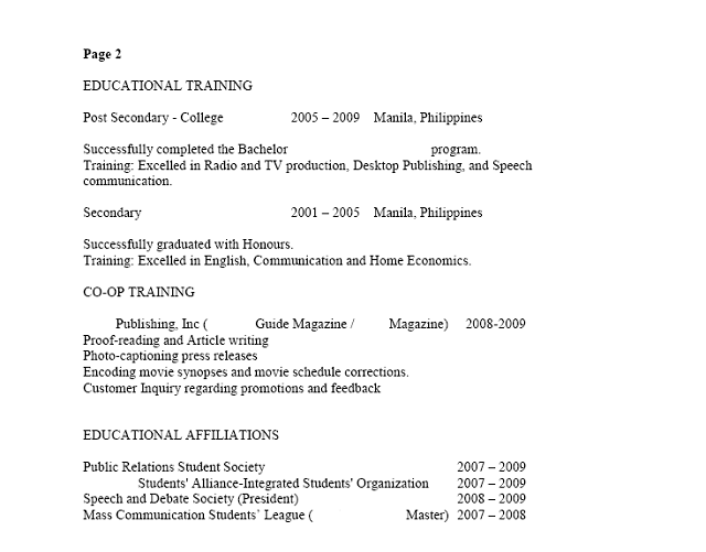 sample filipino resume page 2 - Canadian Sample Resume