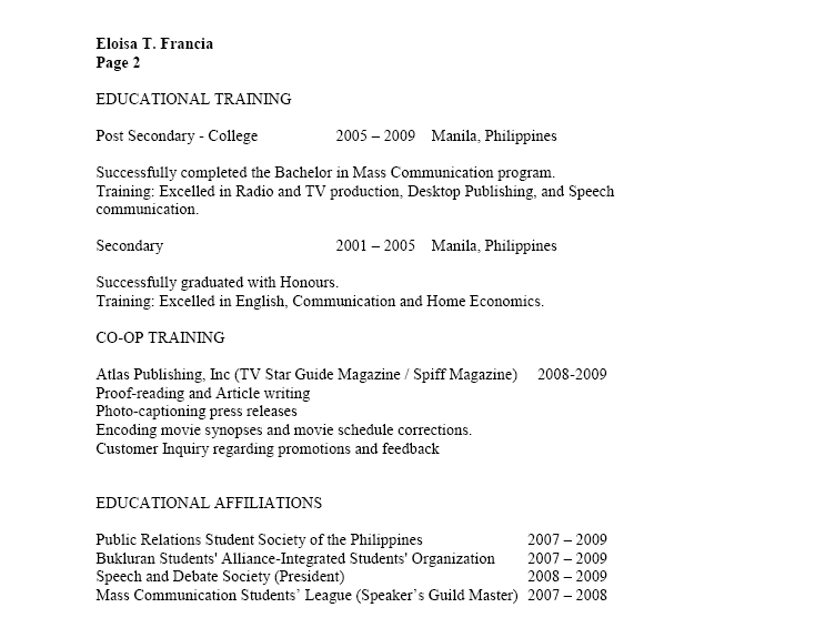 canada vs philippines how to make a resume