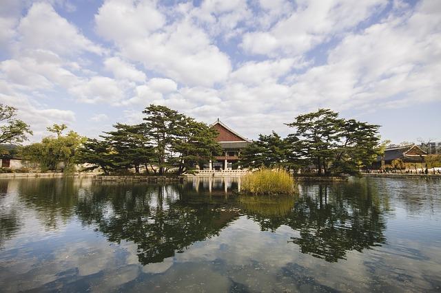 South Korea via https://pixabay.com/en/south-korea-temple-lake-korea-599206/