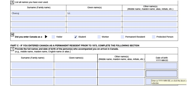 Completed VOS application form part 5