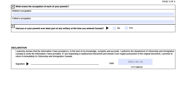 Completed VOS Application Form Page 7