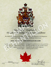 Current Canadian Citizenship Certificate - Sample