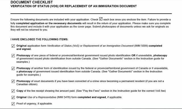 Verification of Status Document Checklist