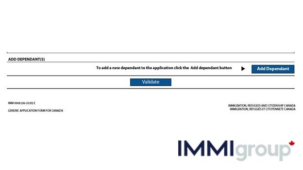 IMM 0008 adding dependants