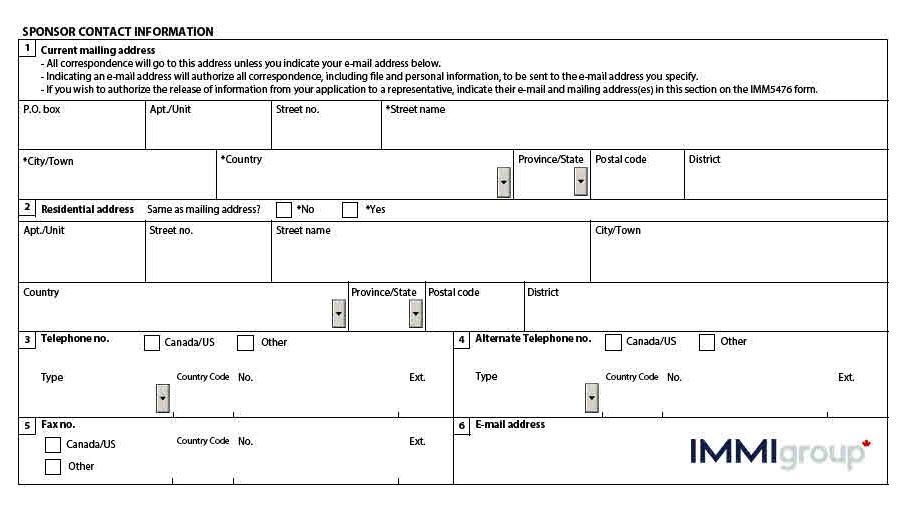 IMM 1344 sponsor contact information