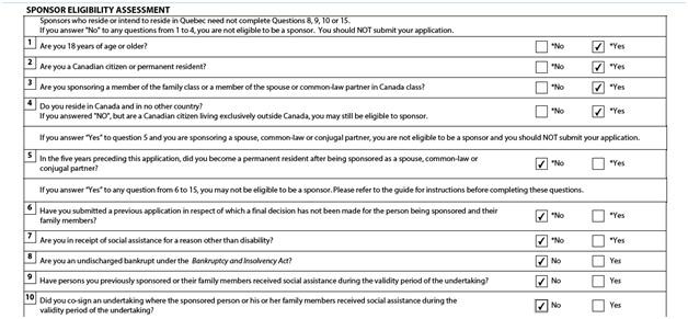 IMM 1344 sponsor eligibility assessment