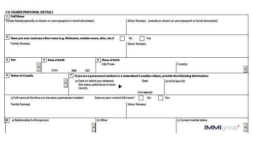 IMM 1344 co-signer details