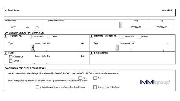 IMM 1344 co-signer residency declaration