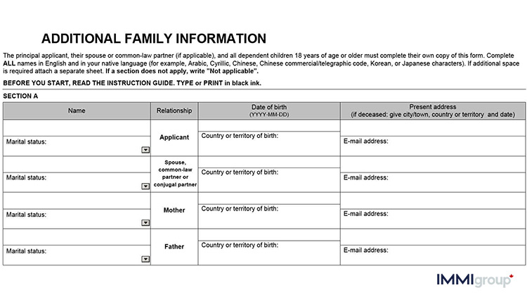 IMM 5406 – Additional Family Information