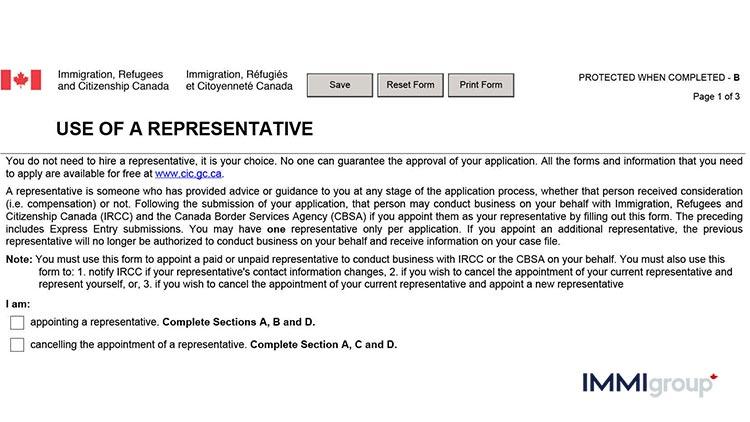 IMM 5476 use of a respresentative
