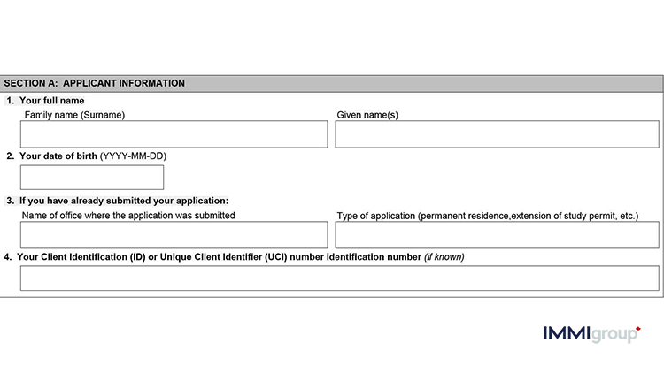 IMM 5476 applicant information