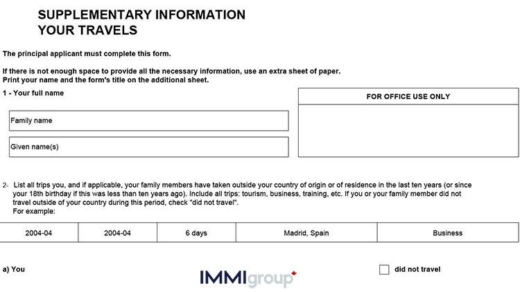 IMM 5562 travel information
