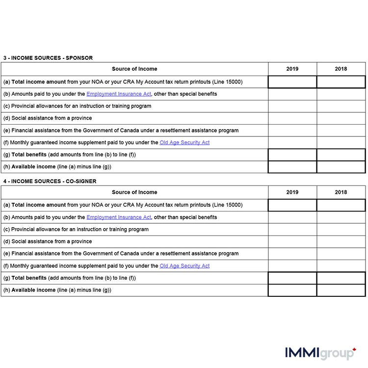 IMM 5748 income sources