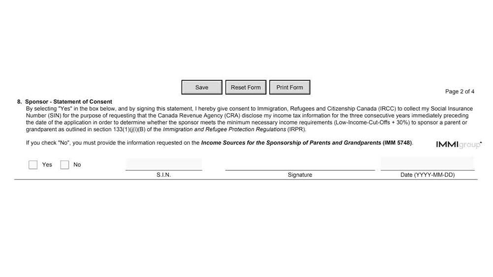 IMM 5768 statement of consent
