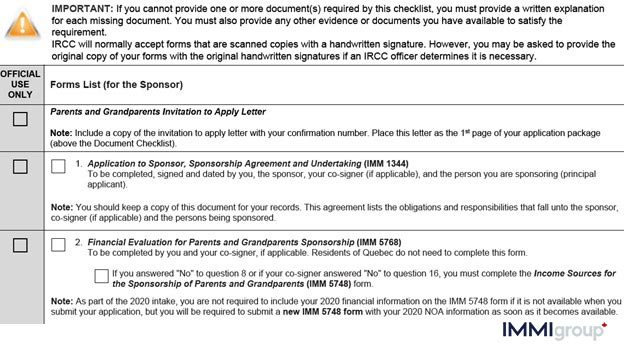 IMM 5771 document checklist