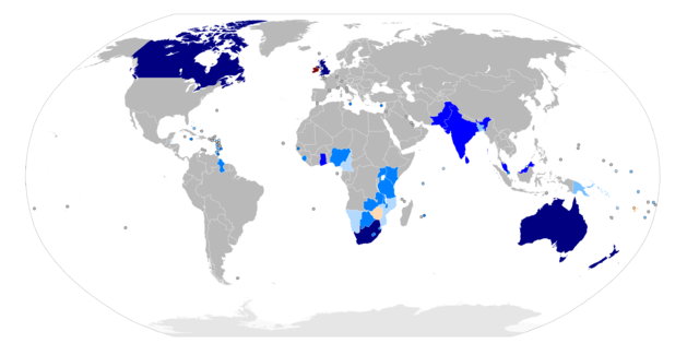 Commonwealth members by Thebainer (Stephen Bain) (Own work, derived from Image:BlankMap-World6.svg) [GFDL (http://www.gnu.org/copyleft/fdl.html) or CC-BY-SA-3.0-2.5-2.0-1.0 (http://creativecommons.org/licenses/by-sa/3.0)], via Wikimedia Commons