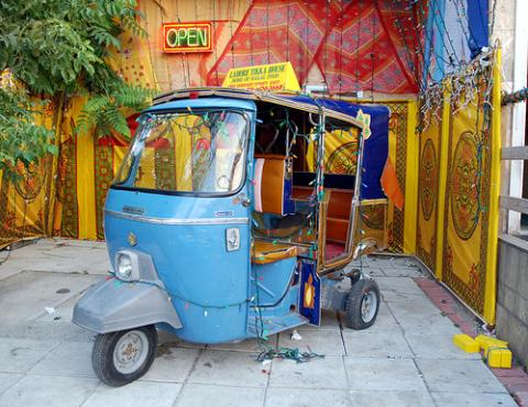 Pakistani Rickshaw in the Gerrard India Bazaar via https://en.wikipedia.org/wiki/File:Torontopakistanirickshaw.jpg