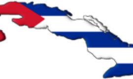 Map of Cuba with flag superimposed
