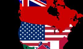 Flag Map of North America circa 1864