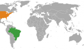 Brazil and the US on the world map via http://commons.wikimedia.org/wiki/File:Brazil_USA_Locator.png?uselang=en-gb