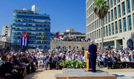 John Kerry at the re-opening of the US Embassy in Havana By U.S. Department of State from United States [Public domain], via Wikimedia Commons