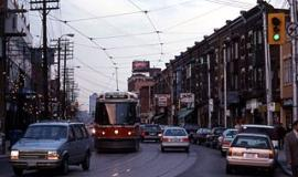 Street Car at College and Montrose sometime in the distant past