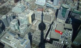Toronto via http://pixabay.com/en/shadow-cn-tower-toronto-city-view-2529/