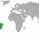 Brazil and the US on the world map