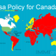 Map of the World showing Canada's Visa Policy