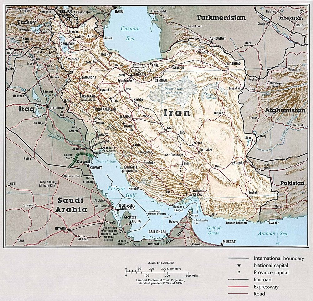 """Map of Iran By These maps and charts are scanned from """"Atlas of the Middle East"""", published in January 1993 by the U.S. Central Intelligence Agency. [Public domain], via Wikimedia Commons"""
