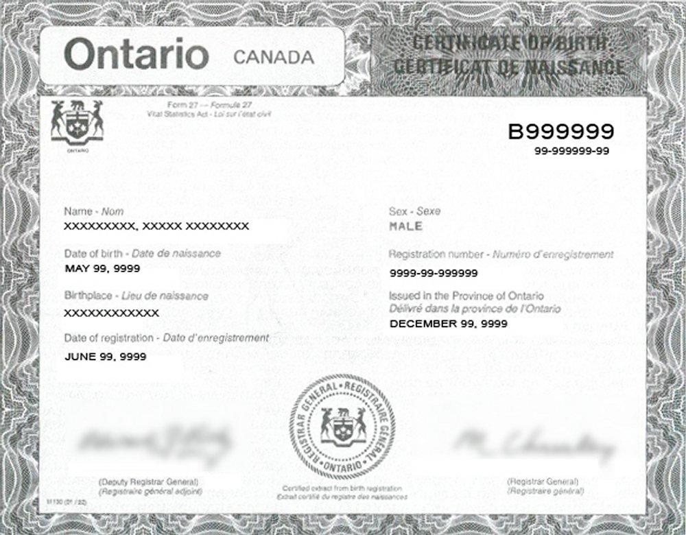 Ontario Birth Certificate
