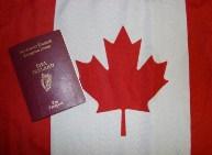 Irish Passport with Canadian flag