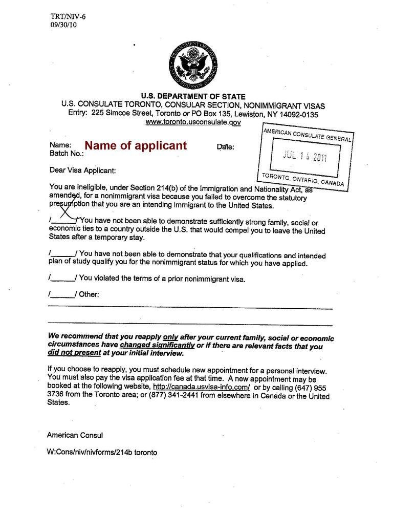 us visa denial letter