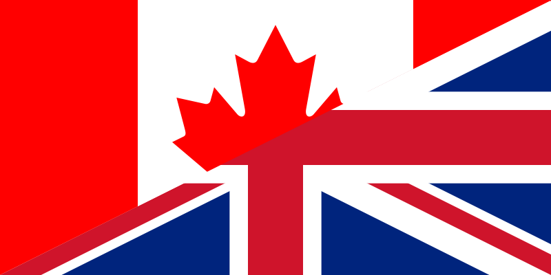 Canadian and UK flags via http://commons.wikimedia.org/wiki/File:Flag_of_Canada_and_the_United_Kingdom.png?uselang=en-gb