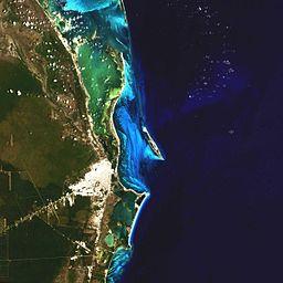 Cancun, Mexico via https://commons.wikimedia.org/wiki/File:Landsat_Cancun_Mexico.jpg