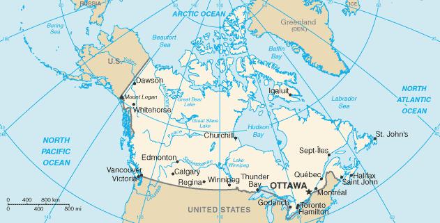 Map of Canada [Public Domain]