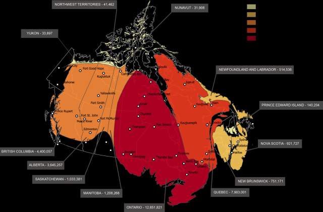 Map of Canada by Population
