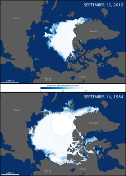 Polar Ice Melting By Assembled from NASA Earth Observatory images by Jesse Allen, using data from the Advanced Microwave Scanning Radiometer 2 AMSR-2 sensor on the Global Change Observation Mission 1st-Water (GCOM-W1) satellite. [Public domain], via Wikimedia Commons