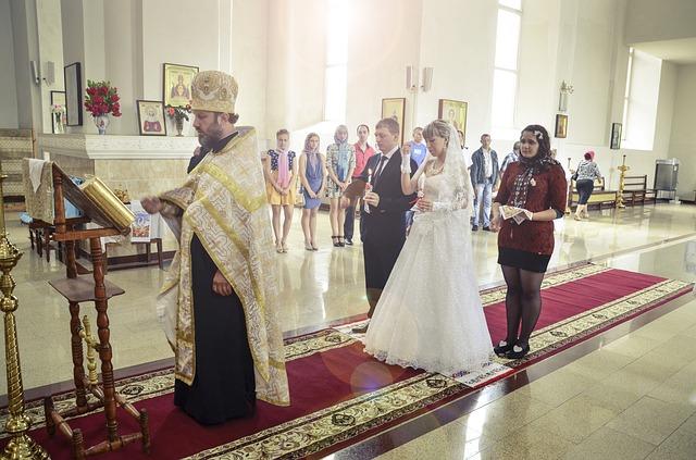 Wedding in an Orthodox Church via https://pixabay.com/en/wedding-church-pastor-priest-433657/