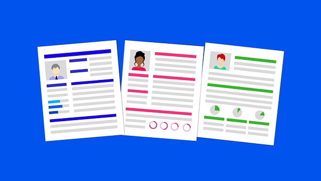 Resumes via https://pixabay.com/illustrations/career-resume-hiring-job-interview-3449422/