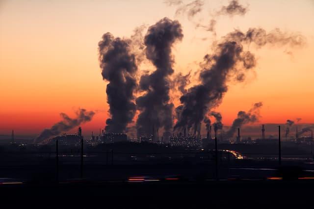 Pollution via https://pixabay.com/photos/industry-sunrise-air-pollution-1752876/